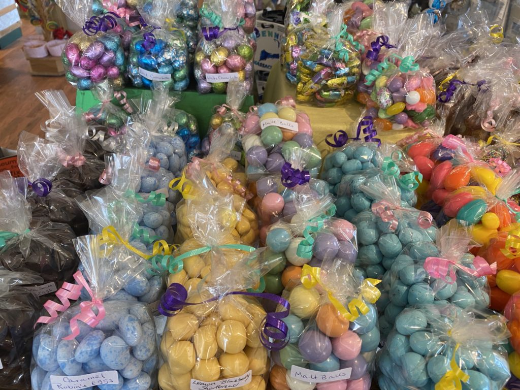 Lots of bags of easter candy eggs