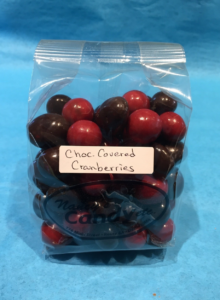 Bag of chocolate covered cranberries